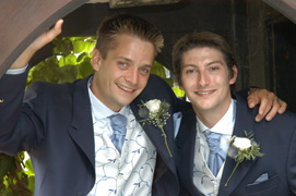 groom and bestman - wedding photographers nailcote hall