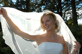 bride holding veil -  wedding photography nailcote hall