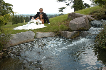 Welcombe Hotel Stratford upon Avon - liz and simon waterfall by golf course,wedding video welcombe