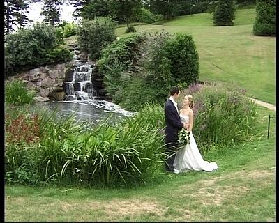 Welcombe Hotel Stratford upon Avon - emma-jo and damian view if waterfall,wedding video welcombe