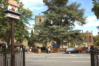 knowle parish church, knowle - taken from red lion knowle