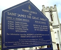 click here for the ST JAMES THE GREAT CHURCH PAGE - signboard - saint james the great shirley solihull, weddings